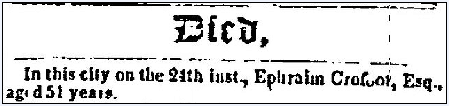 obituary for Ephraim Crofoot, Constitution newspaper article 3 March 1852