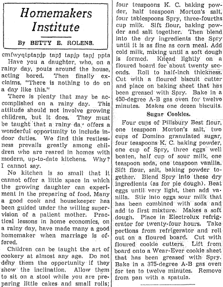 article about recipe winners at the Illinois State Fair, Daily Illinois State Journal newspaper article 22 August 1937