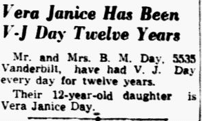 Vera Janice Has Been V-J Day Twelve Years, Dallas Morning News newspaper article 16 August 1945