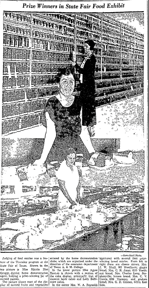 Prize Winners in State Fair Food Exhibit, Dallas Morning News newspaper article 13 October 1933