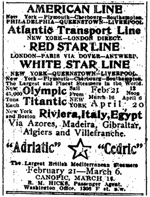 "cruise ad from the White Star Line for their new steamer ""Titanic,"" Evening Star newspaper advertisement 13 February 1912"