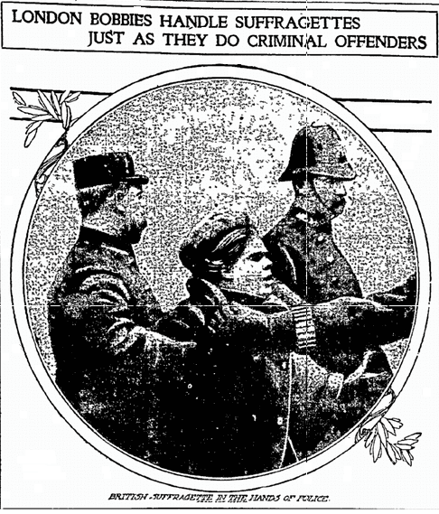 article about suffragettes being arrested in Great Britain, Fort Worth Star-Telegram newspaper article 1 March 1908