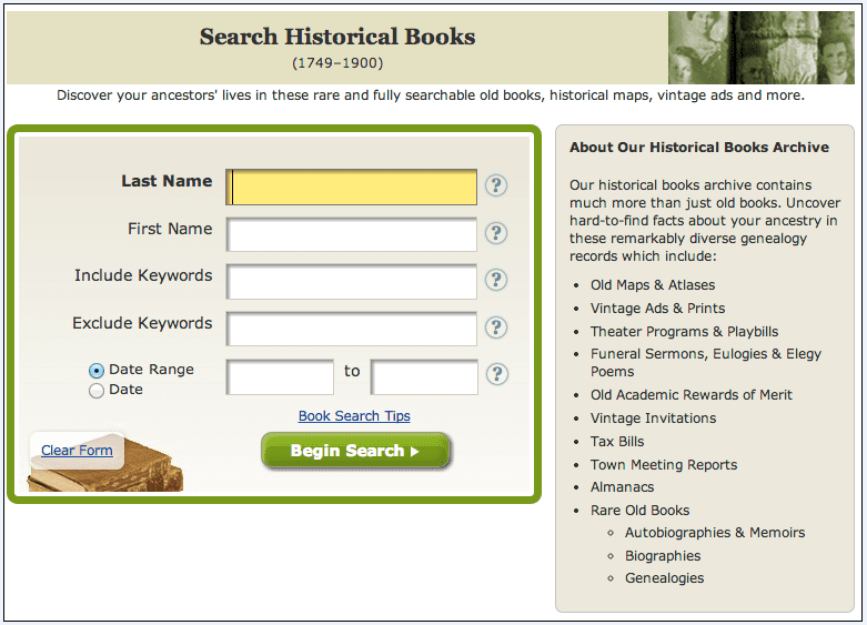 search page for GenealogyBank's Historical Books collection