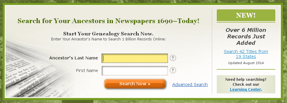 screenshot of GenealogyBank's homepage announcing the addition of 6 million more genealogy records