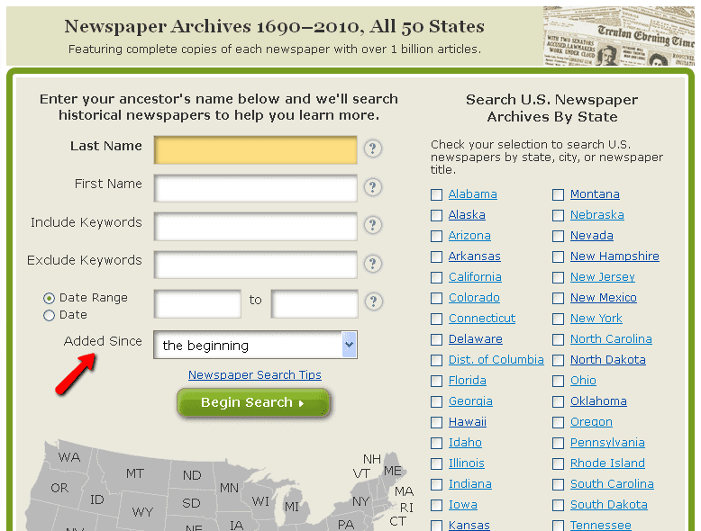 screenshot of GenealogyBank's search page for its newspaper archives