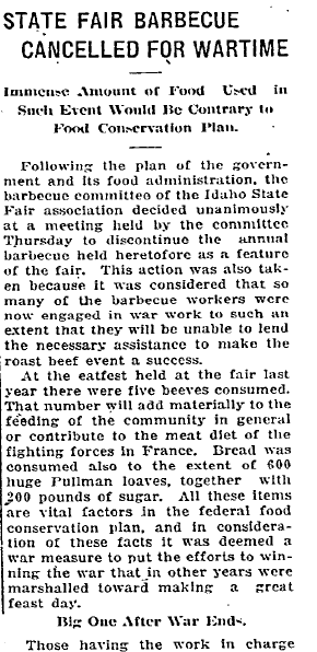 State Fair Barbecue Cancelled for Wartime, Idaho Statesman newspaper article 20 September 1918