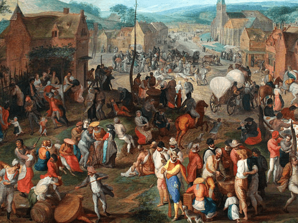 """Illustration: detail from """"Village Fair,"""" by Gillis Mostaert, 1590. Credit: Gemäldegalerie; anagoria; Wikimedia Commons."""