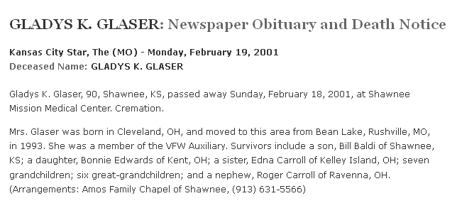 obituary for Gladys Glaser, Kansas City Star newspaper article 19 February 2001