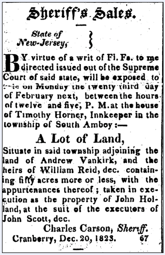 Sheriff's Sales, New Brunswick Fredonian newspaper advertisement 5 February 1824