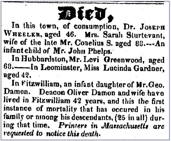various obituaries, New Hampshire Sentinel newspaper article 28 April 1826