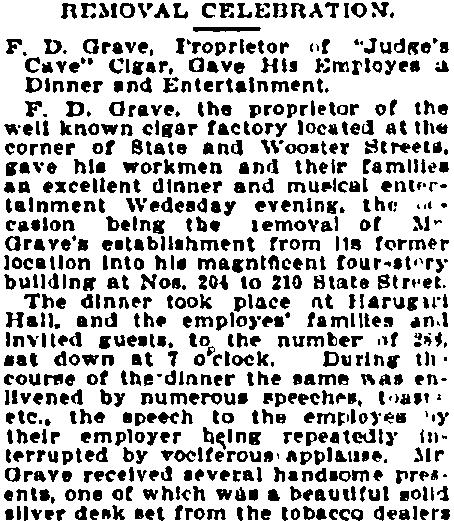 "article about F. D. Grave and his ""Judge's Cave"" cigar company, New Haven Register newspaper article 6 January 1899"