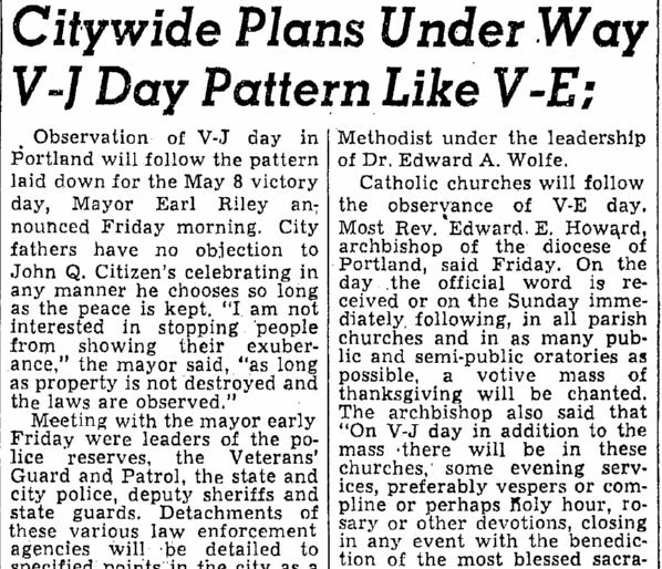 Citywide Plans Underway--V-J Day Pattern like V-E, Oregonian newspaper article 11 August 1945