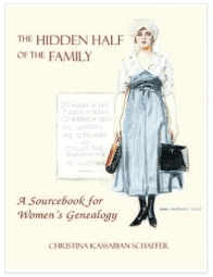 "photo of the genealogy book ""The Hidden Half of the Family: A Sourcebook for Women's Genealogy"""