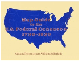 "photo of the genealogy book ""Map Guide to the U.S. Federal Censuses 1790-1920"""
