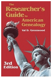 "photo of the genealogy book ""The Researcher's Guide to American Genealogy"""