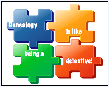 "genealogy saying: ""Genealogy is like being a detective!"""