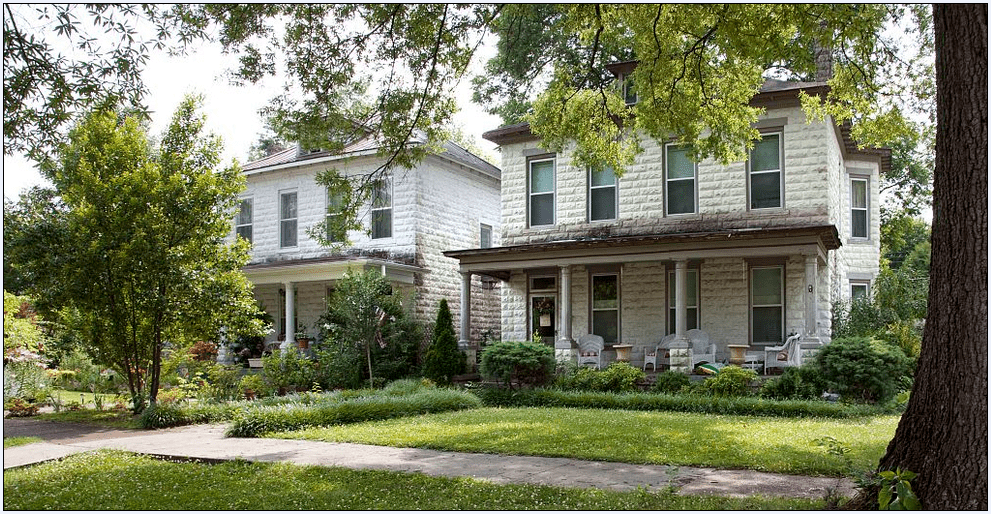 photo of twin houses bought from the Sears Catalog