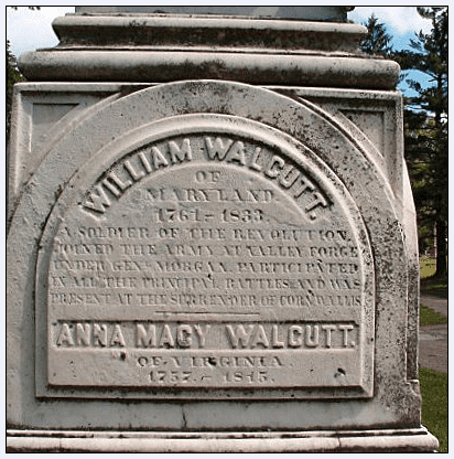 photo of the tombstone of William & Anna Macy Walcutt