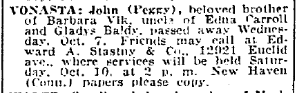 obituary for John Vomasta, Plain Dealer newspaper article 9 October 1936