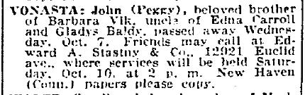 obituary for John Vomasta, Plain Dealer newspaper article 9 October 1936
