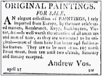 Original Paintings for Sale, Poulson's American Daily Advertiser newspaper advertisement 27 April 1805