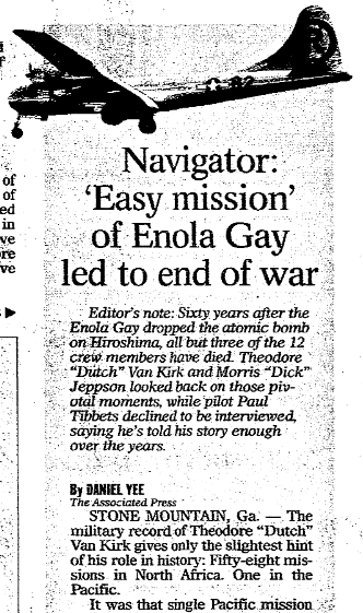 article about the WWII bomber Enola Gay and the atomic bombig of Hiroshima, Register Star newspaper article 7 August 2005