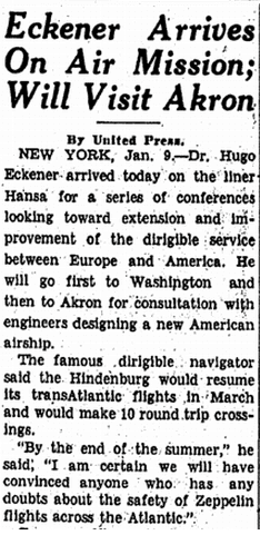 Eckener Arrives on Air Mission; Will Visit Akron, Repository newspaper article 10 January 1937