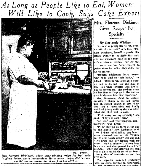 Mrs. Florence Dickinson Gives Recipe for Specialty (Fruit Cake), Richmond Times Dispatch newspaper article 5 November 1935