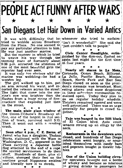 article about people in San Diego celebrating V-J Day, San Diego Union newspaper article 15 August 1945