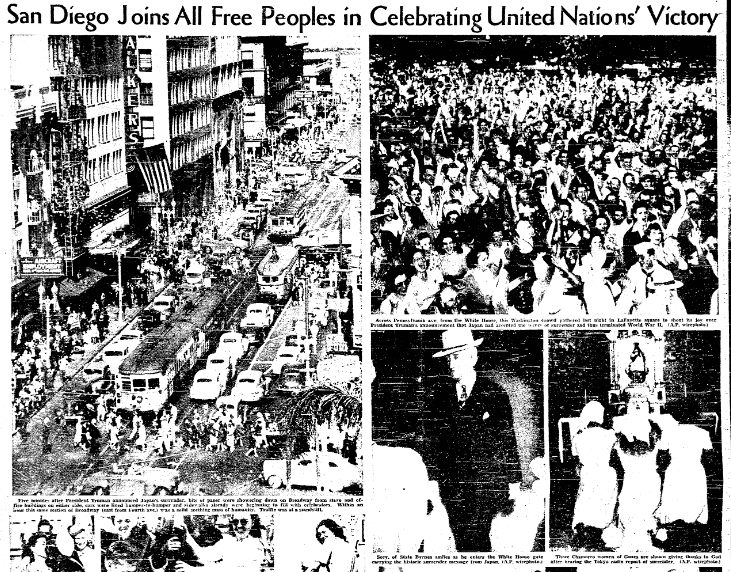 photos of people in San Diego celebrating V-J Day, San Diego Union newspaper article 15 August 1945