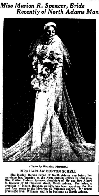 wedding announcement for Marion Spencer and Harlan Schell, Springfield Republican newspaper article 12 February 1935