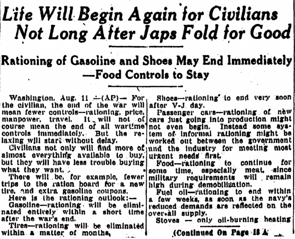 Life Will Begin Again for Civilians Not Long after Japs Fold for Good, Springfield Republican newspaper article 12 August 1945