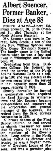 obituary for Albert Spencer, Springfield Union newspaper article 5 February 1965