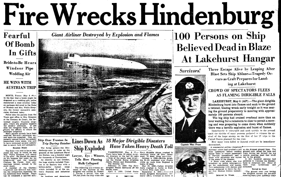 Fire Wrecks Hindenburg, Trenton Evening Times newspaper article 6 May 1937