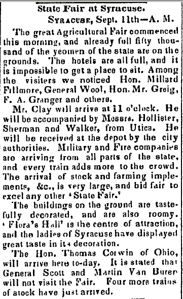 State Fair at Syracuse, Trenton State Gazette newspaper article 12 September 1849