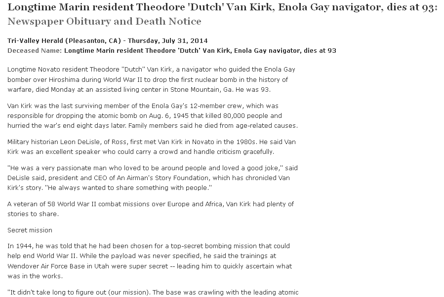 obituary for Theodore Van Kirk, Tri-Valley Herald newspaper article 31 July 2014