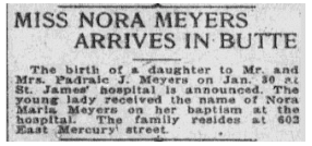 birth announcement for Nora Meyers, Anaconda Standard newspaper article 3 February 1921