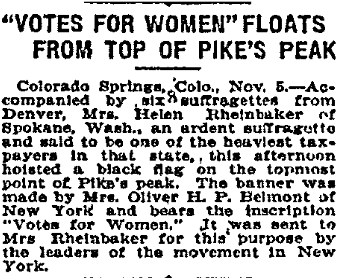 """Votes for Women"" (flag) Floats from Top of Pike's Peak, Anaconda Standard newspaper article 6 November 1909"