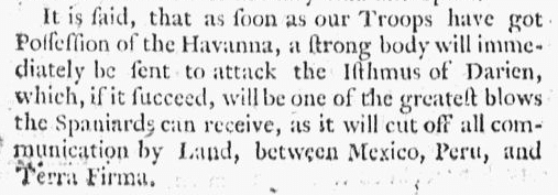 article about a planned British attack on the Spanish outpost in Panama, Boston Evening-Post newspaper article 6 December 1762
