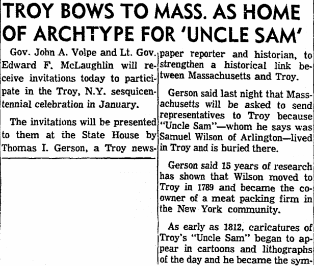 Troy Bows to Mass. as Home of Archtype for 'Uncle Sam,' Boston Herald newspaper article 30 October 1961