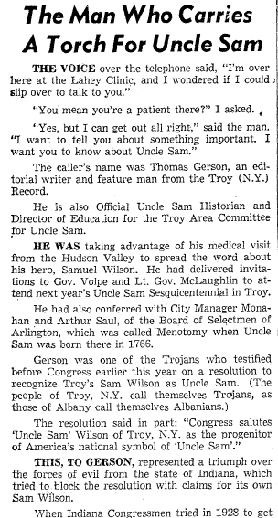 The Man (Thomas Gerson) Who Carries a Torch for Uncle Sam, Boston Traveler newspaper article 3 November 1961