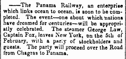article about the completion of the Panama Railway, Cleveland Leader newspaper article 31 January 1855