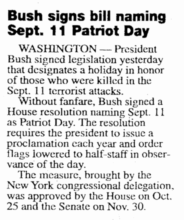 Bush Signs Bill Naming Sept. 11 Patriot Day, Daily Advocate newspaper article 19 December 2001