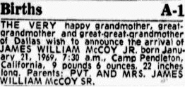 birth announcement for James McCoy, Dallas Morning News newspaper article 24 January 1969