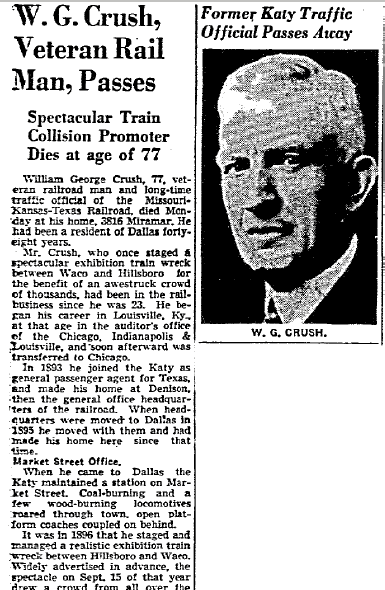 obituary for William G. Crush, Dallas Morning News newspaper article 13 April 1943