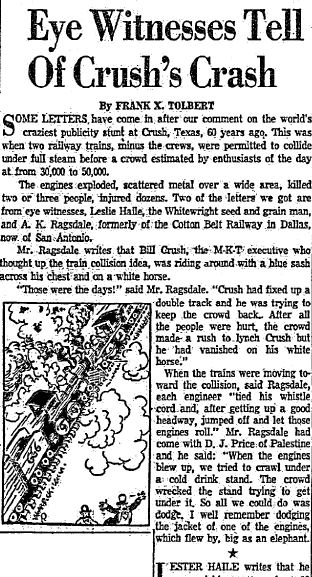 eyewitness accounts of the train crash at Crush, Texas, Dallas Morning News newspaper article 6 May 1956