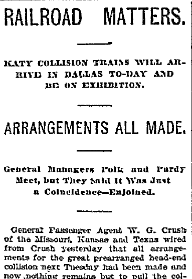 article about the preparations for the train crash staged in Crush, Texas, Dallas Morning News newspaper article 11 September 1896