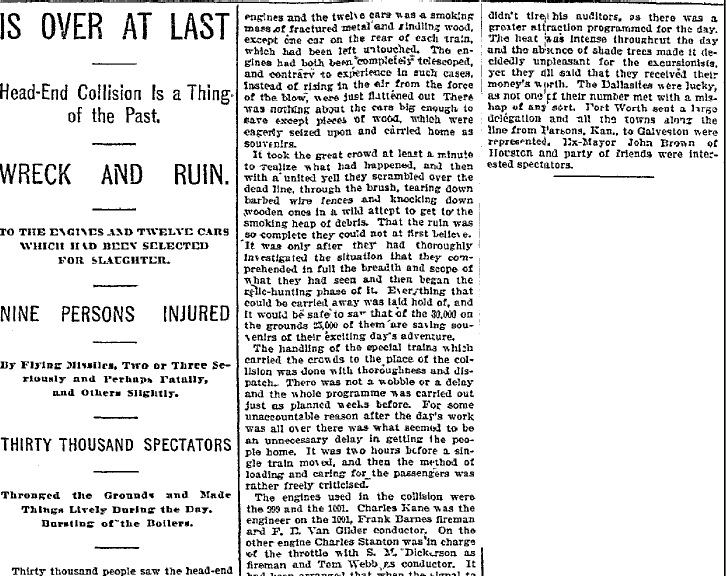article about the train crash at Crush, Texas, Dallas Morning News newspaper article 16 September 1896