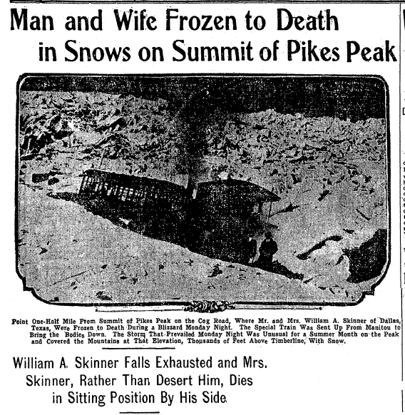 Man and Wife Frozen to Death in Snows on Summit of Pikes Peak, Denver Post newspaper article 23 August 1911