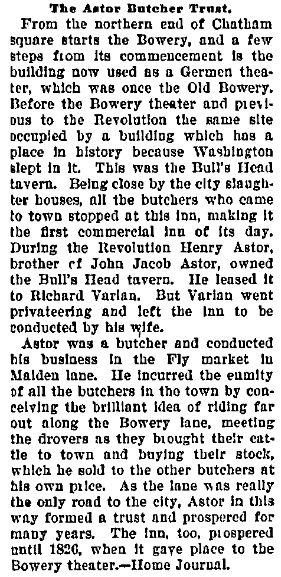 The Astor Butcher Trust, Evening News newspaper article 19 October 1900